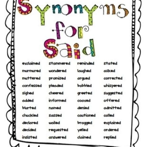 synonyms for bed synonyms for said writers workshop pinterest