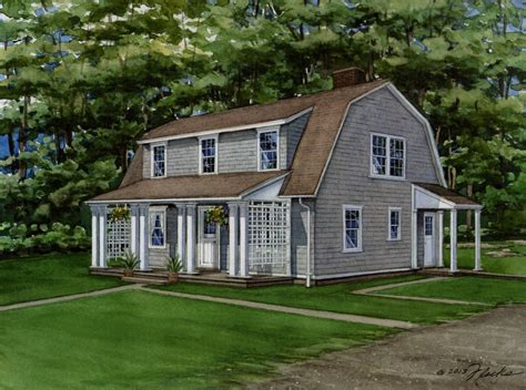 cape cod house style watercolor portrait of home in mount kisco new york