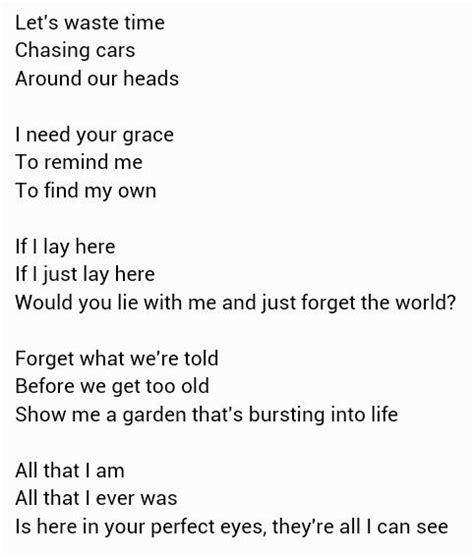 by snow patrol chasing cars lyrics chasing cars snow patrol meaningful song lyrics