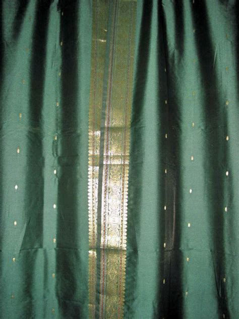 dark green curtain pair of silk sari india curtains drapes panels dark green