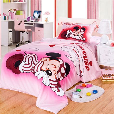 Bedcover Set Single No3 Motif Mickey Mouse disney brand 100 cotton mickey mickey mouse pink duvet