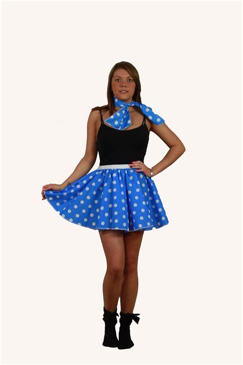Rok Set Bandana rock n roll skirt scarf set 1950s 1960s blue white