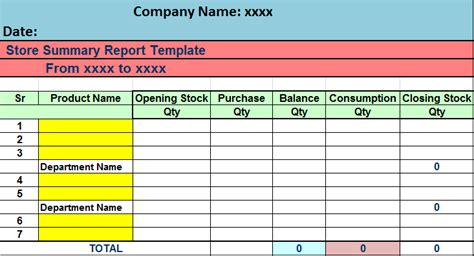 stock report template excel stock summary report template free report templates