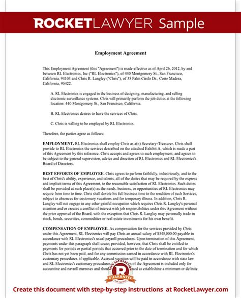 executive employment agreement contract template with sle