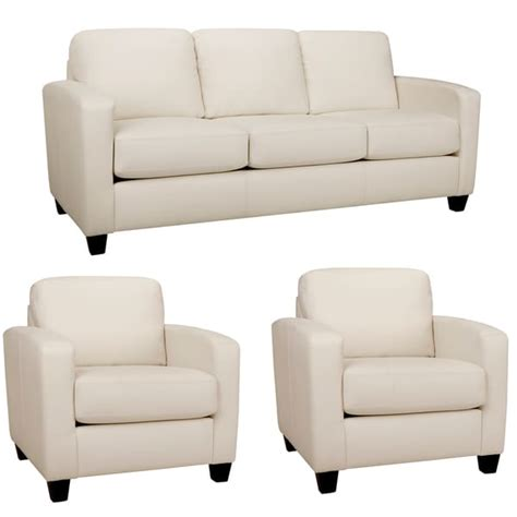 Bryce White Italian Leather Sofa And Two Chairs Free White Sofa Chair