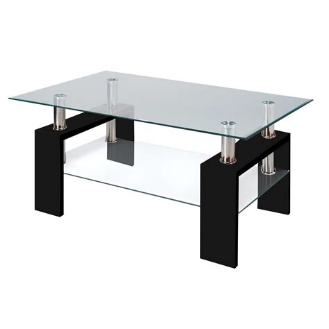 Contemporary Glass Coffee Tables Modern Glass Black Coffee Table With Shelf Contemporary