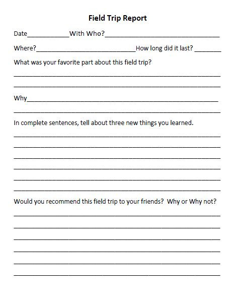 field trip form template field trip reflections on field trips class