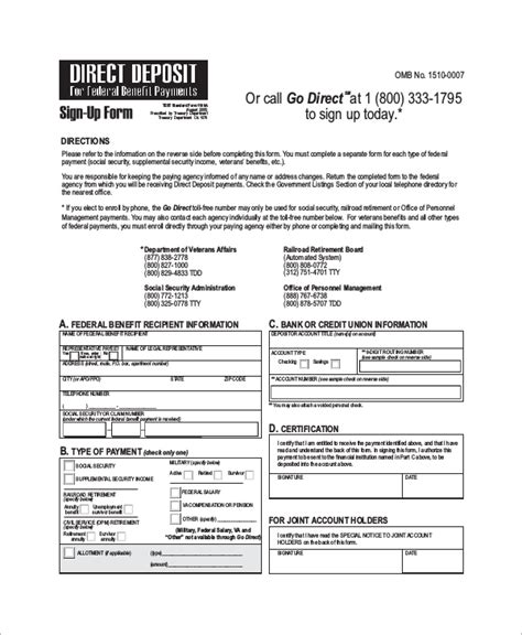 verification of deposit letter template sle direct deposit form 8 exles in word pdf