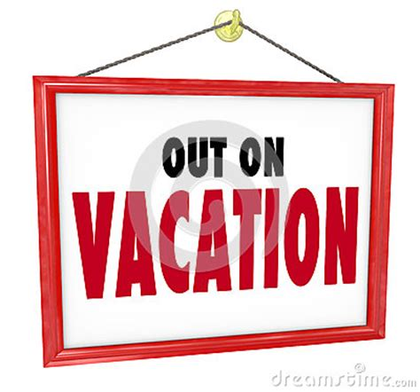 out on vacation hanging sign store office closed stock