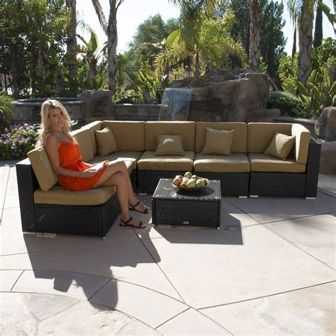 Aluminum Wicker Patio Furniture 7pc Outdoor Patio Rattan Wicker Furniture Aluminum Sectional Sofa Table Cushion Ebay