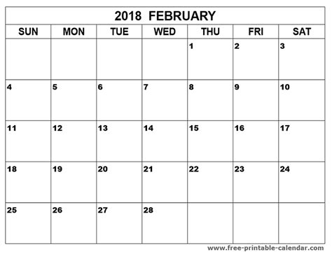 february 2018 calendar word in templates and pdf format