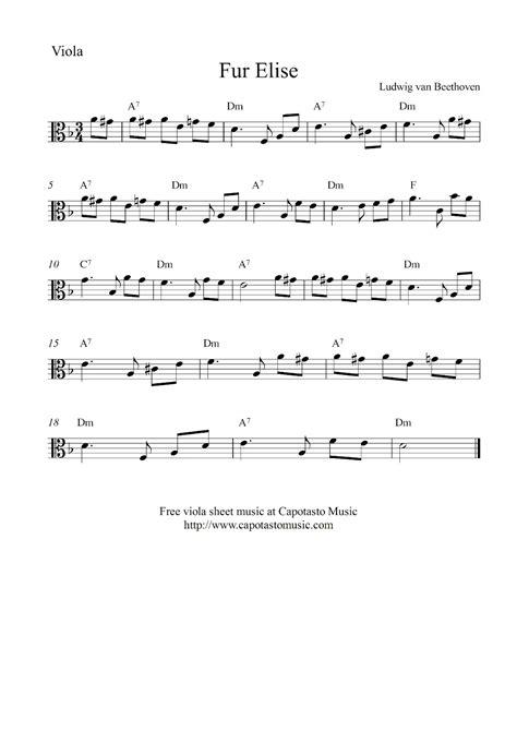 free printable sheet music viola free viola sheet music score fur elise