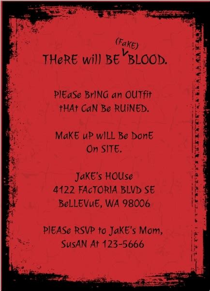 red zombie kids birthday party invitation template