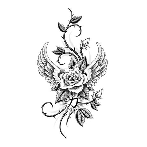 rose tattoo with angel wings designs artwork gallery custom design