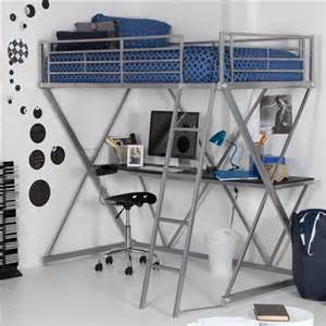 Modern bunk bed style twin loft bed with desk in silver metal finish