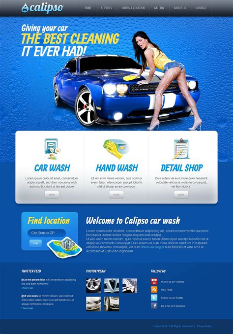 Car Wash Facebook Html Cms Template 44730 Car Detailing Template
