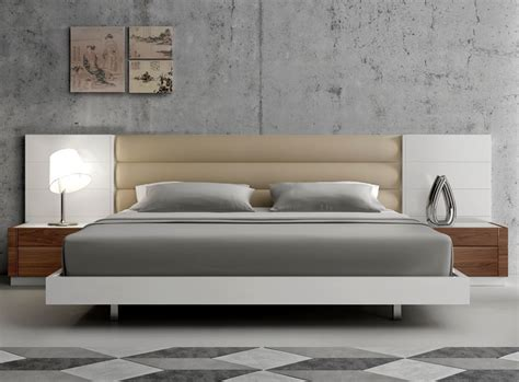 Bed With Padded Headboard by White Platform Bed Modern Furniture Stores Chicago