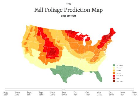 foliage map an interactive map that predicts the best time for fall 2016 foliage in the continental united