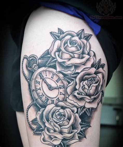 thigh rose tattoo grey ink roses and on thigh