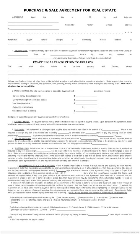 printable house sale contract free blank printable real estate sales contract basic