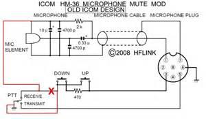 hflink icom hm 36 microphone mute mod for hf automatic