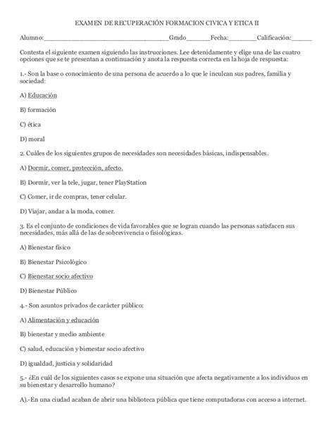 guia de evaluacion de formacion civica y etica de 5 grado examen de recuperaci 243 n formacion civica y etica ii