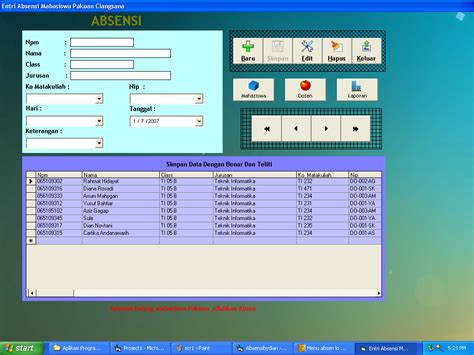 screenshot sofware absensi software absensi program absensi vb 6 masterbill