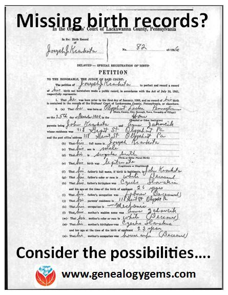 Births Records Missing Birth Record Here S What You Can Do To Track It Genealogy Gems