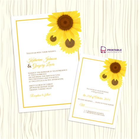 Free Thank You Sunflower Card Templates by Free Pdf Sunflower Wedding Invitation And Rsvp
