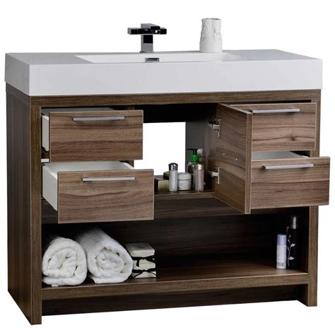 40 quot modern bathroom vanity set with walnut finish tn l1000