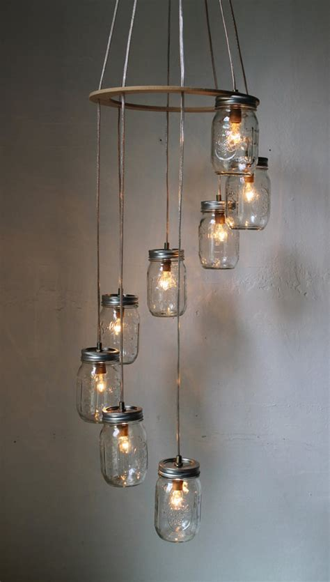 How To Make Mason Jar Chandelier Simple Diy Exposed Hanging Light Bulb