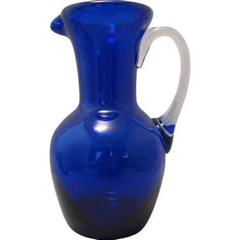cobalt blue glass l beautiful blown 7 quot cobalt blue glass ewer pitcher