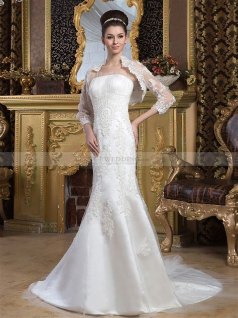 marjey strapless satin mermaid wedding dress with lace