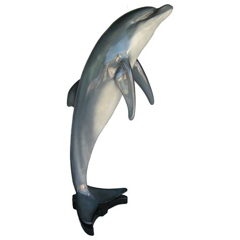 large jumping dolphin statue with base