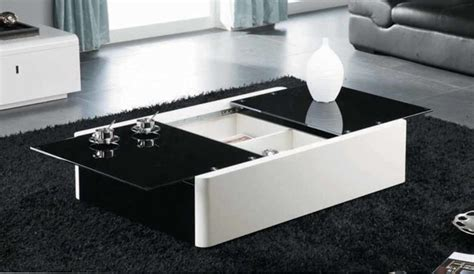 modern black and white coffee table with storage aosta