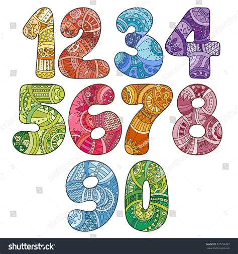 doodle numbers zentangle numbers set collection doodle numbers stock
