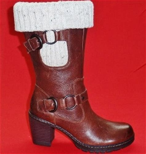 new womens born boc brown buckles leather mid calf high