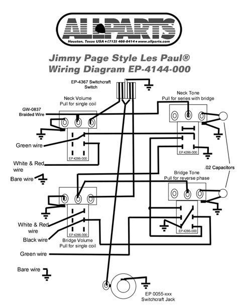 jimmy page wiring diagram wiring kit for jimmy page les paul allparts guitar