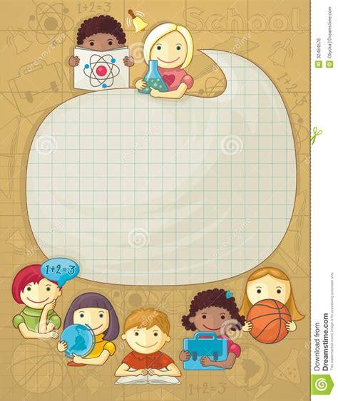 imagenes infantiles niños escuela marco de la escuela con los ni 241 os ilustraci 243 n del vector