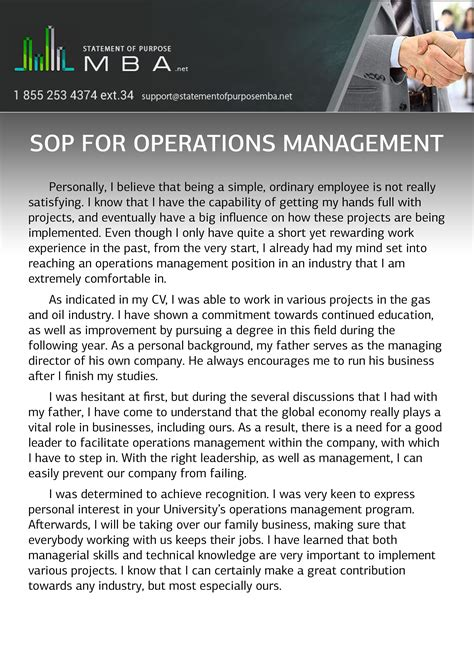 Writing Sop For Mba by Sop For Operations Management Statement Of Purpose Mba