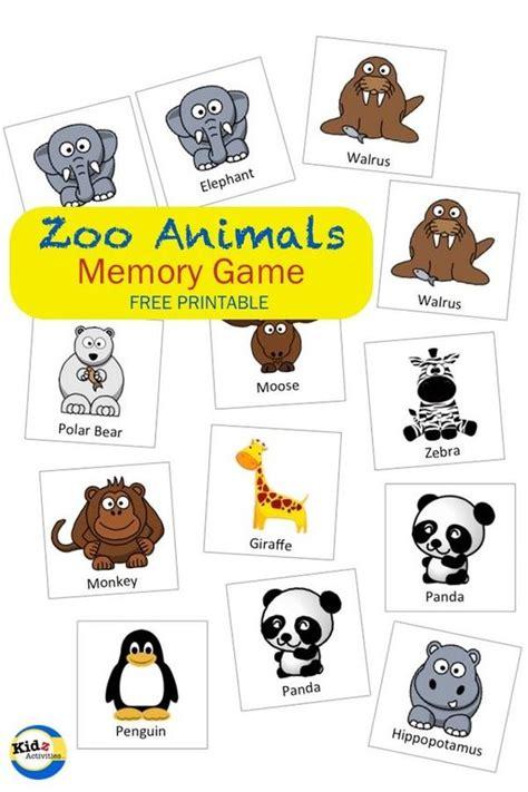 printable zoo games zoo animals memory game kidz activities preschool