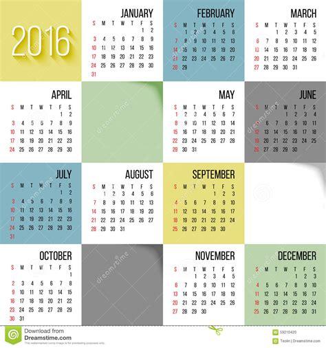 vector calendar template calendar 2016 stock vector image 59210420