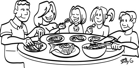 coloring pages of a family eating family meal black and white clipart