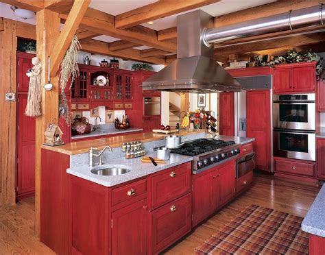 rustic red kitchen cabinets incredible red lacquer cabinet ideas in kitchen farmhouse