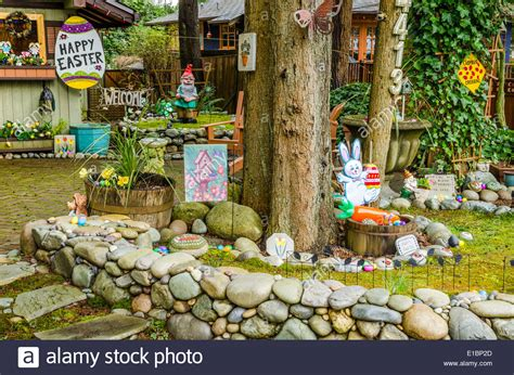 a whimsical front yard decorated for easter stock photo