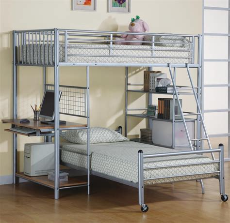 Bunk Bed With Storage And Desk Best Modern Lightweight Detachable Silver Brushed Metal Bunk Beds Design Be Equipped Netting