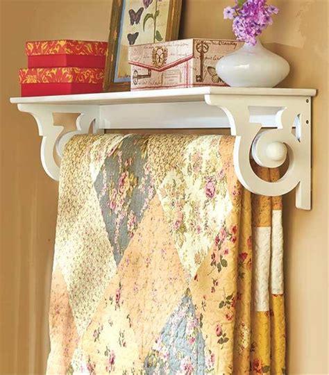 comforter holder deluxe quilt blanket holder wall rack with shelf scrolled