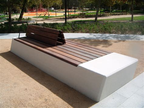 wood and concrete bench public bench in concrete and wood with backrest