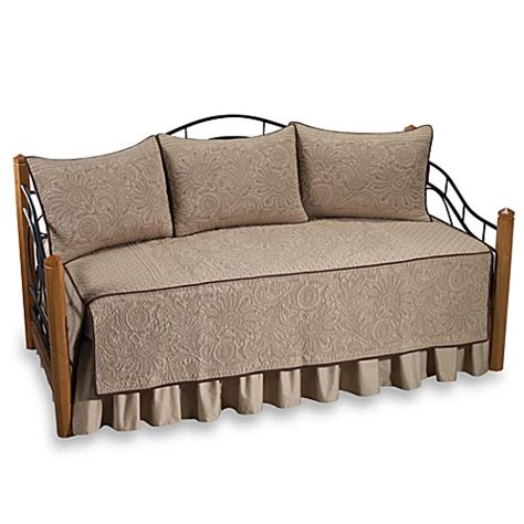 bed bath and beyond daybed covers vallejo 100 cotton quilted daybed bedding set in taupe