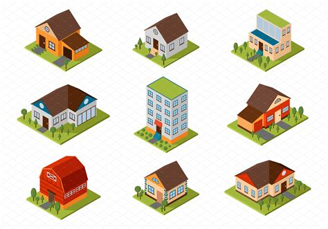 isometric house vector illustration illustrations